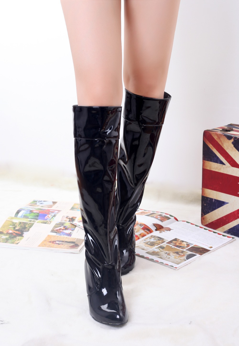 2015 winter Autumn New Slip-On Knee Boots Women Solid Colors Spike Heels Fashion Comfortable Big size 34-45 R1340 - chengdu women shoes store