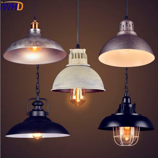 IWHD American Iron Vintage Pendant Light Fixtures Dining Room Edison Style Loft Industrial Pendant Lighting Lamparas Colgantes iwhd loft style round glass edison pendant light fixtures iron vintage industrial lighting for dining room home hanging lamp
