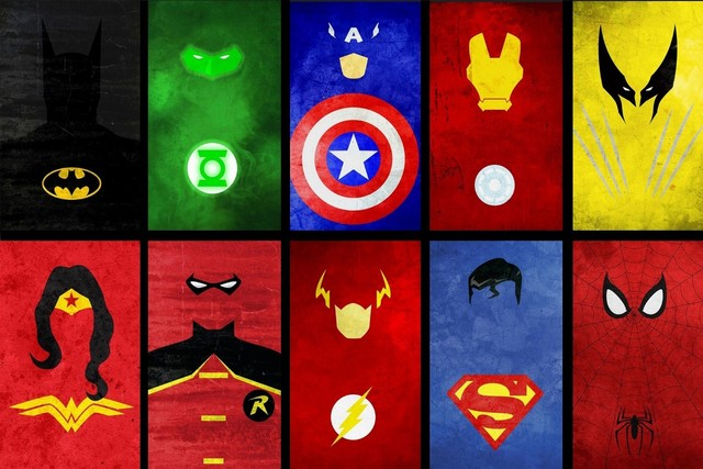 Marvel Comics Super Heros Logo Symbol DM724 Room Home Wall Art Decor Wood  Frame Poster
