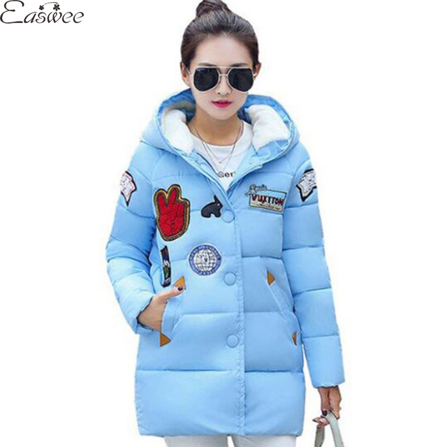 1PC Patch Design Winter Jacket Women Cotton Parkas For Women Winter Coat Womens Winter Jackets Manteau Femme ZZ3605