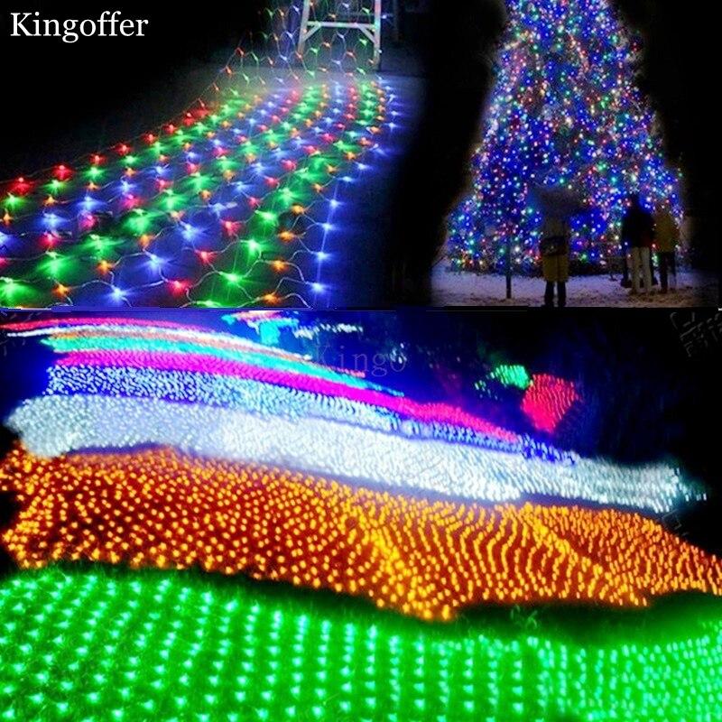 Kingoffer 4Mx6M Led Net String lights White warm white RGB Blue Mesh Lamp Garland Wedding Party Christmas Xmas decoration lights