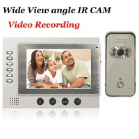 7inch Black Video Door Phone Intercom System SD Card Recording And Photo Taking 700TVL Camera Night
