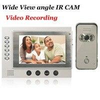 7inch Black Video Door Phone Intercom System SD Card Recording And Photo Taking 700TVL Camera Night