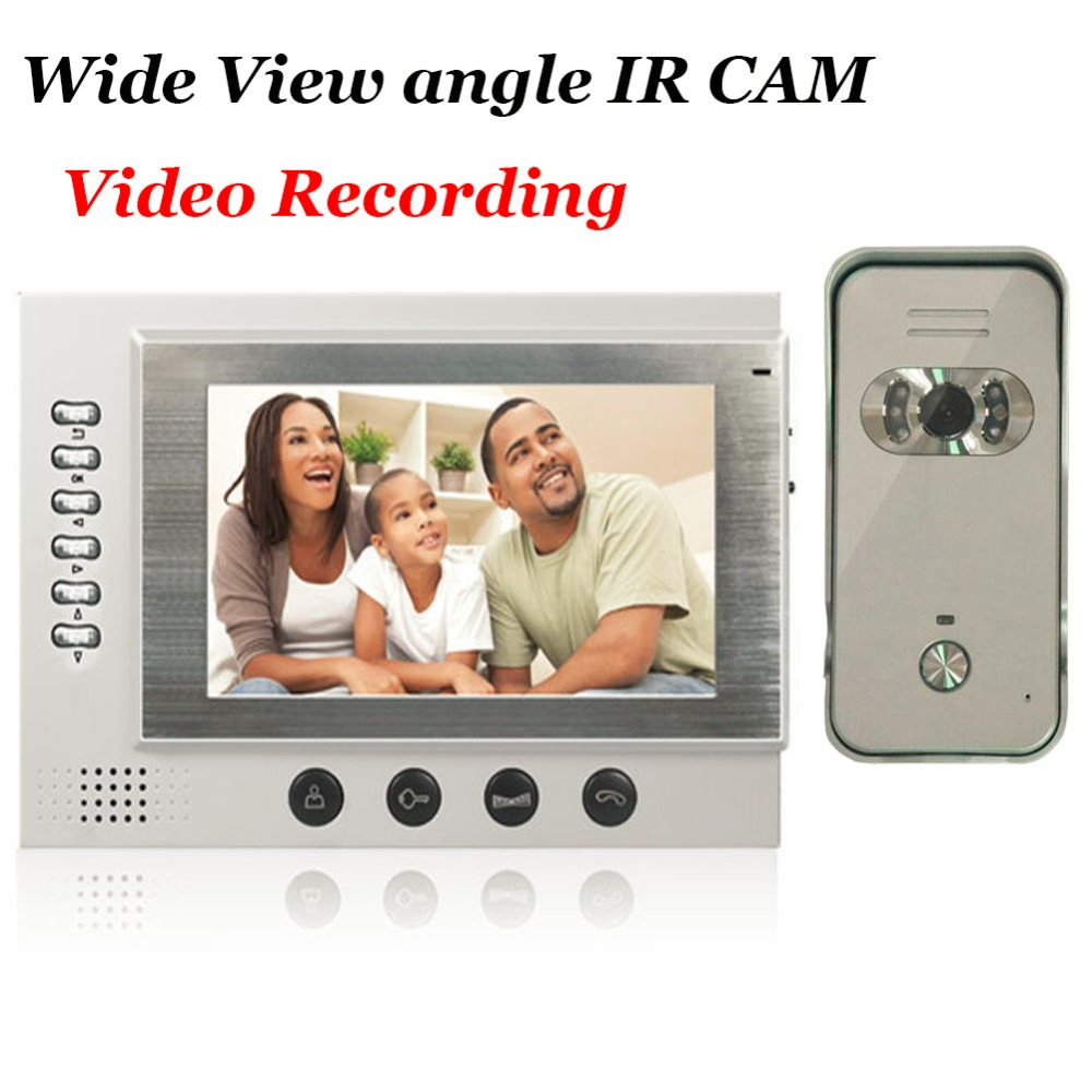 7 Video Door Phone Intercom System SD Card Recording And Photo Taking Wide View angle Rain-proof Outdoor Unit 700TVL IR Camera card king kw 1506n 2 4ghz 150mbps outdoor rain proof lightning proof wireless network card white