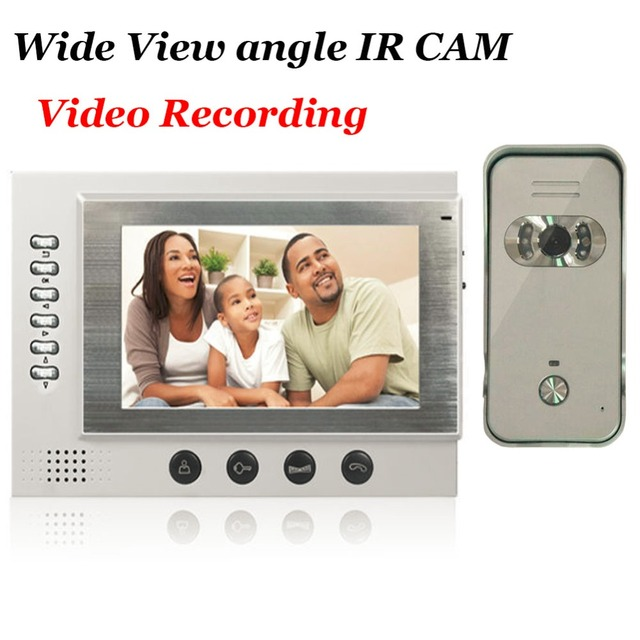 7 Video Door Phone Intercom System SD Card Recording And Photo Taking Wide View angle Rain-proof Outdoor Unit 700TVL IR Camera