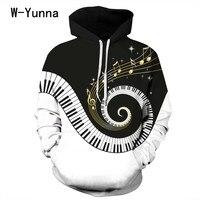 W Yunna Musical Note Piano Keys Print 3d Hoodies Women Black White Color Women Sweatshirts Long sleeved Pullovers Hoodies S 3XL