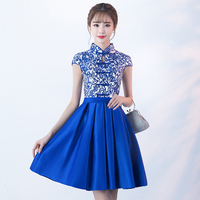 Fashion Blue And White Porcelain Chinese Dress Qipao Traditional Cheongsam Short Show Banquet Annual Meeting Evening Gown