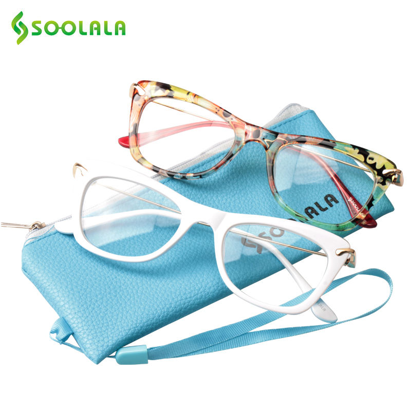 SOOLALA Damemote Designer Cat Eye Eyeglasses Rammer med Metal Arms Lesebriller Women Anti-tretthet Eyewear Oculos