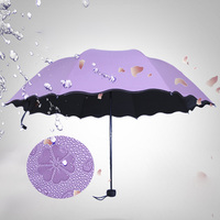 2016 New Fashion Water Light Reactive Color Changing Umbrella Anti UV Sunscreen In Case Water Bloom