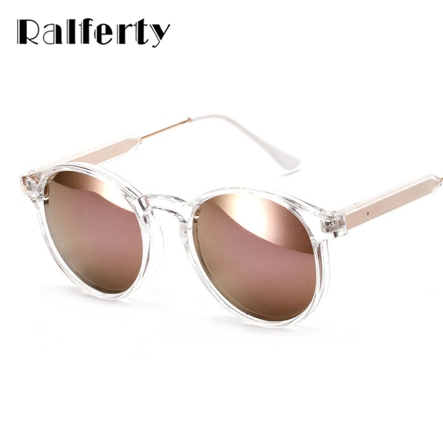 5dc6d619ef Ralferty Women Sunglasses Transparent Frame Anti UV Sun Glasses Pink Flash Mirror  Sunglass Female Shades Sunglases