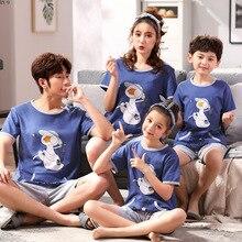 Verão 2019 novas crianças conjunto de pijamas família dos desenhos animados roupas combinando mãe e filha pijamas pai filho terno lounge