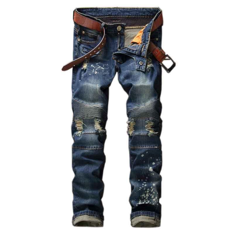 #1526 2017 Elastic jogger jeans Fashion Straight Motorcycle jeans Slim Hip hop Destroyed jeans men Distressed stretch jeans men
