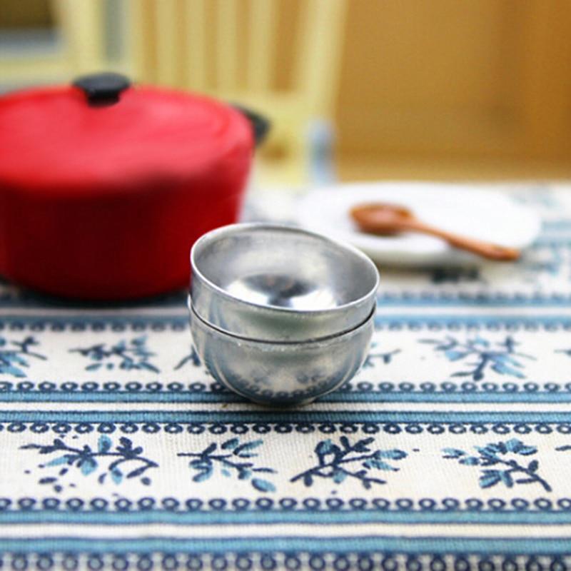 New 2PCS 1:12 Iron Bowls Dollhouse Accessories Miniature Toy Doll Food Kitchen