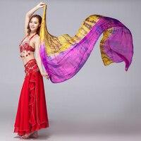 Women Dancewear 100% Silk Colored Scarf Light Texture Belly Dance Accessories Women Silk Veils Tie Dye