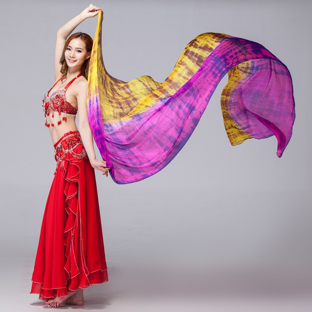 Women Dancewear 100% Silk Colored Scarf Light Texture Belly Dance Accessories Women Silk Veils Tie Dye