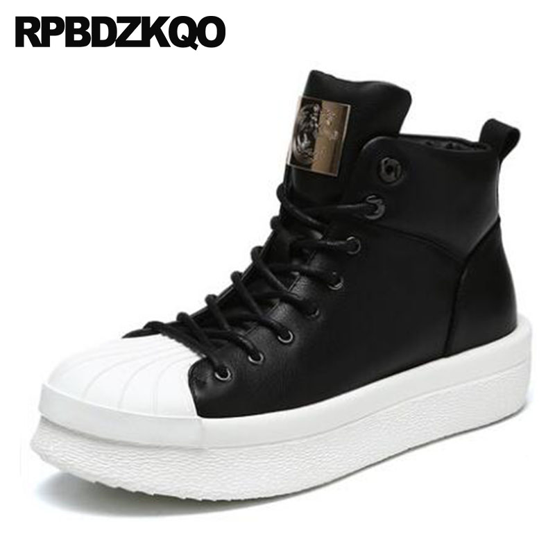 High Sole Genuine Leather Boots Top Men Full Grain Booties Ankle Harajuku Metalic Shoes Thick Soled Trainer Platform Sneakers woden woden ydun metalic sneakers 273621140