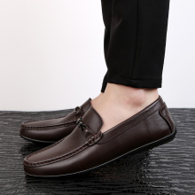 Men Genuine Leather Casual Shoes Summer Male Shoes Fashion Flats Round Toe Loafers Slip on Man Driving Sneakers Brand