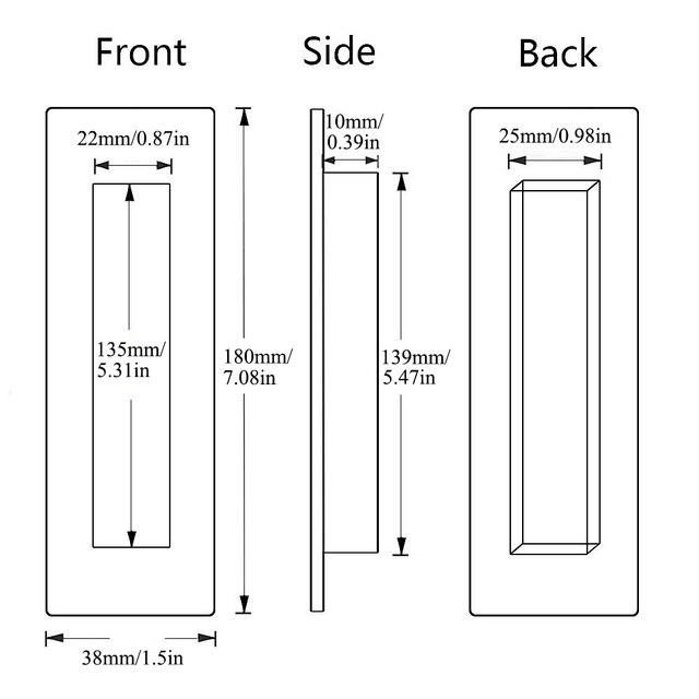 LWZH poignée affleurante pour porte de grange | Porte de grange coulissante traction Invisible de 180mm pour armoires tiroirs rectangulaire noir mat libre bord tranchant