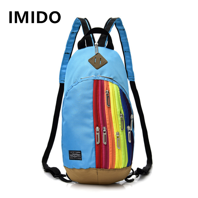 IMIDO New Arrive Women Backpacks Casual Nylon Material Mens Back pack Fashion Patchwork Unisex Backpack For Travel