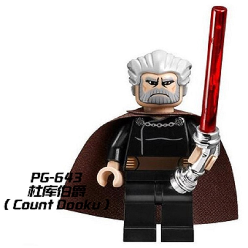 Single Sale Super Heroes Count Dooku Star Wars Curved Lightsaber Sith Luke Skywalker Building Blocks Children Gift Toys PG643