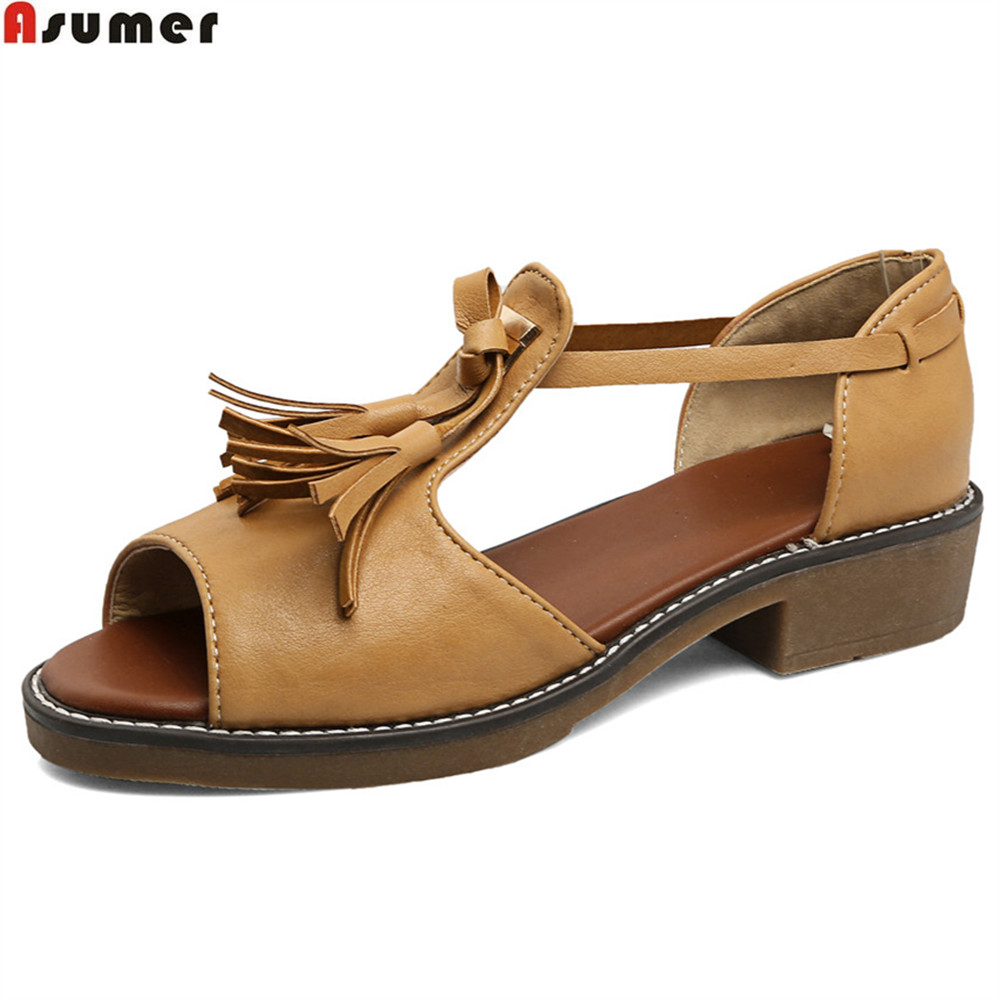 ASUMER black white fashion summer ladies shoes square heel peep toe casual women med heels sandals big size 34-43 new fashion summer shoes women shoes peep toe patent leather med heel women sandals cut outs gladiator small big size 32 44 0372