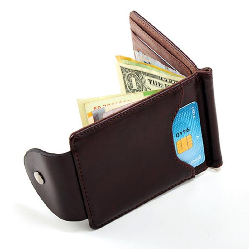 2018 Hot Sale Ultra-thin Pu Leather Money Clip Slim Wallets ID Credit Card bag Purse High Quality Men's Wallet Free Shipping