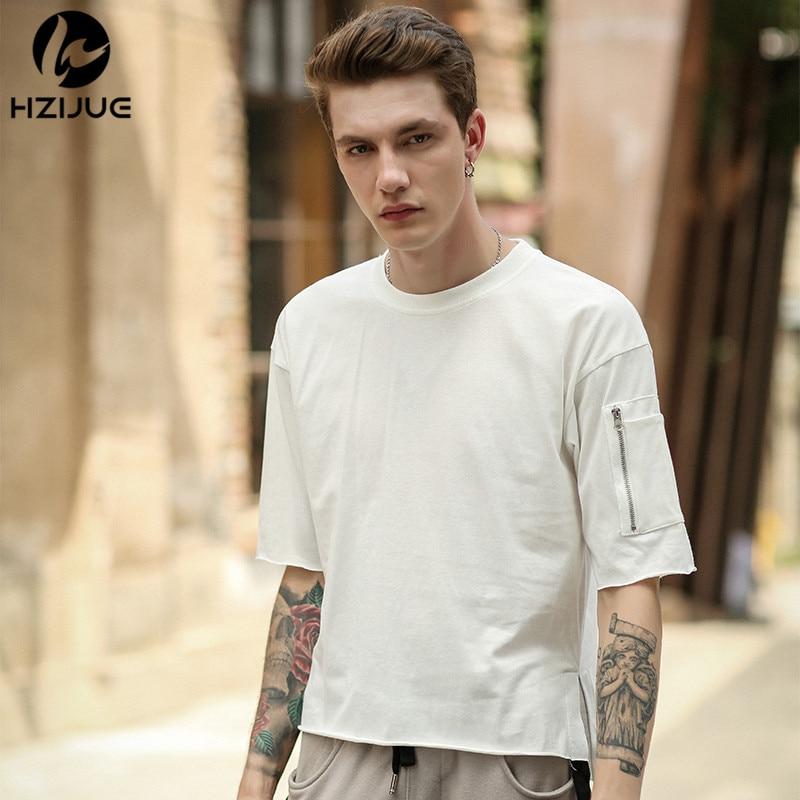 HZIJUE 2018 márka divat cipzár ujjú pólók pamut pólók férfi új nyári utcai viselet hip hop tiszta szín T-Shirts