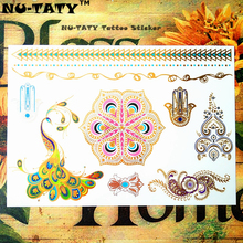 NU-TATY 24 Style Temporary Tattoo Body Art, Color Peacock Golden Designs, Flash Tattoo Sticker Keep 3-5 Days Waterproof 21x15cm
