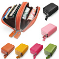 Women Lady Fashion Genuine Wallet Double zipper Card Holder Purse Handbag Clutch Coin Bag Case 7 Colors Brand Fanmecy