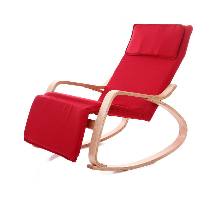 Comfortable Relax Wood Rocking Chair With Foot Rest Design Living Room Furniture Modern Chaise Lounge Recliner Fabric Cushion