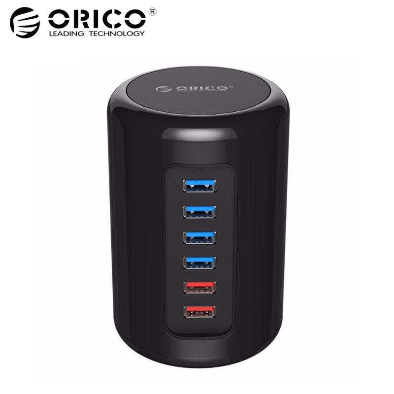 ORICO RH4CS-BK 4-Port USB3.0 HUB ABS Material Ultra-Mini with 2 Charging Ports Super Charger 5V Max 2.4A for Pad Phone -Black