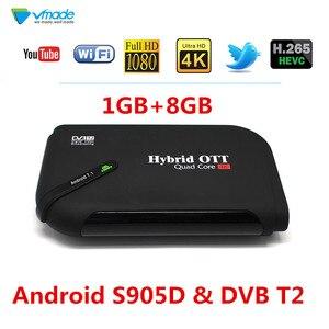 ТВ-приставка на Android 7,1 и DVB T2, наземный ТВ-приемник, 1 ГБ, 8 ГБ, Amlogic S905D H.265 HEVC 1080P, поддержка YouTube, Wi-Fi, телеприставка, 2019