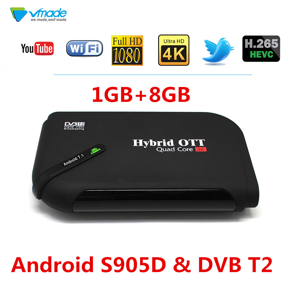 2019 Android 7.1 TV Box & DVB T2 Terrestrial TV Receiver 1GB 8GB Amlogic S905D H.265 HEVC 1080P Support YouTube WIFI Set Top Box
