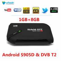 2019 Android 7,1 caja de TV y DVB T2 terrestre receptor de TV 1GB 8GB Amlogic S905D H.265 HEVC 1080P YouTube WIFI Set Top Box