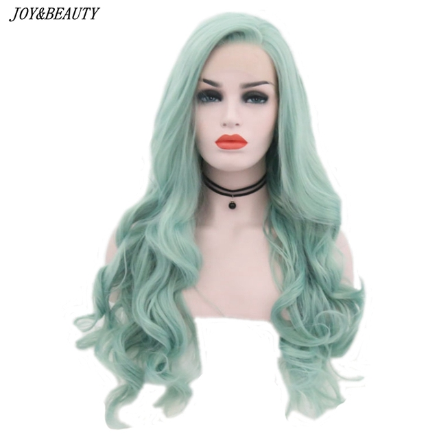 JOY&BEAUTY Mint Green Body Wave Synthetic Lace Front Wigs Glueless Heat Resistant Fiber Hair Natural Hairline Side Part For Wome