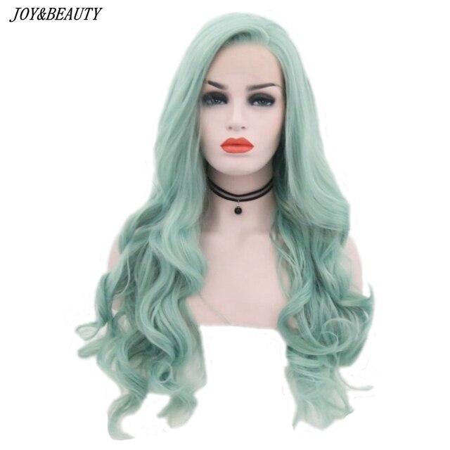JOY & BEAUTY Mint Green Body Wave ลูกไม้ด้านหน้า Wigs ความร้อนทนความร้อนเส้นใยธรรมชาติ Hairline ด้านข้างสำหรับ Wome
