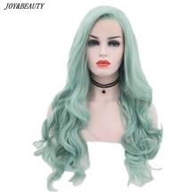 JOY & BEAUTY perruque Body Wave verte menthe synthétique sans colle en Fiber résistante à la chaleur, raie de cheveux naturelle et raie latérale pour femmes
