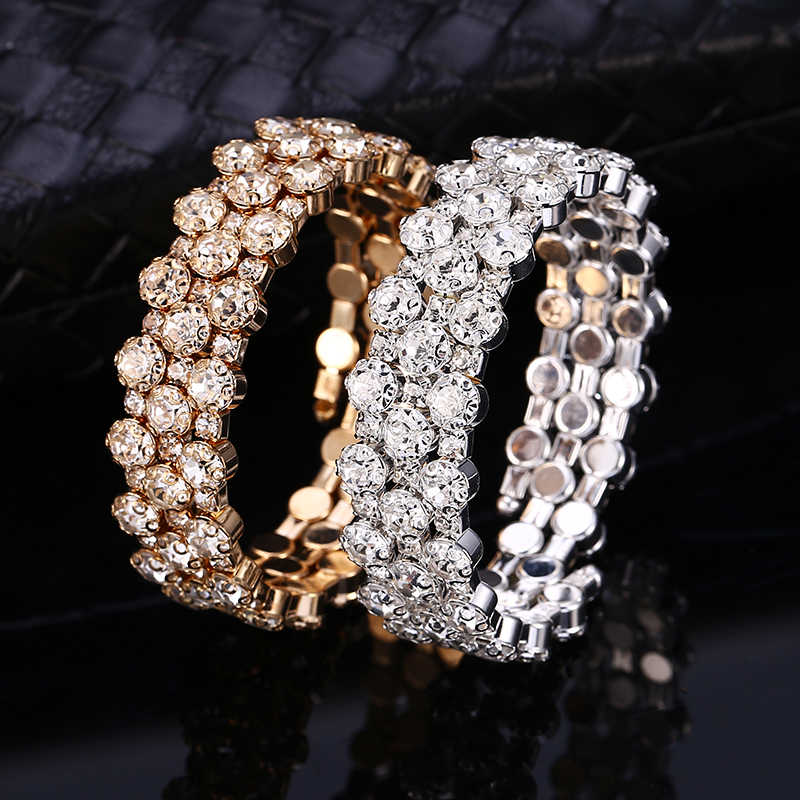 HOCOLE 2019 Trendy Crystal Bracelet Bangle Female Fashion Wedding Jewelry Gold/Silver Rhinestone Bangles Bracelets For Women