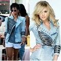 Новые Женщины 2016 женская Shrug джинсовая куртка Военного образца Джинсовая Куртка цепь пальто Верхняя motocicleta jaqueta Feminina Свободный Корабль