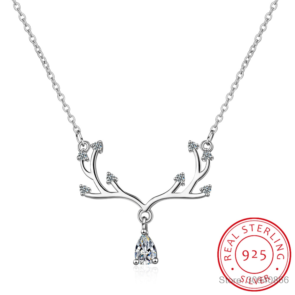 Romantic Zircon Elk Pendant Necklace For Women Valentine's Day Gift 925 Sterling Silver Chain Necklace Choker S-N353