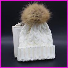 2016 Winter Autumn Fashion Women Wool Knitted Beanies Caps 100% Real Raccoon Fur Pompom Beanie Hats For Women