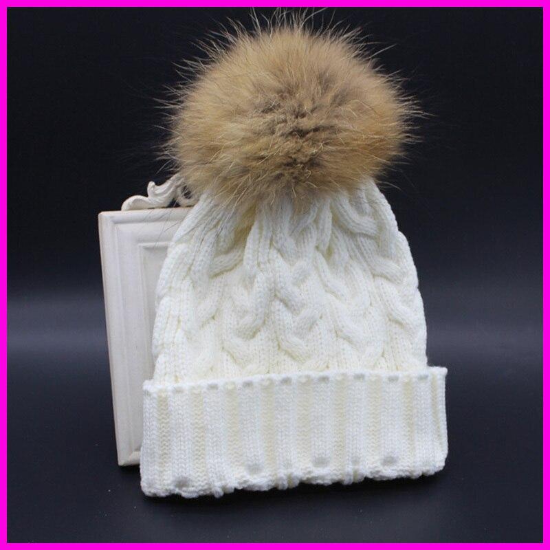 2017 Winter Autumn Fashion Women Wool Knitted Beanies Caps 100 Real Raccoon Fur Pompom Beanie Hats