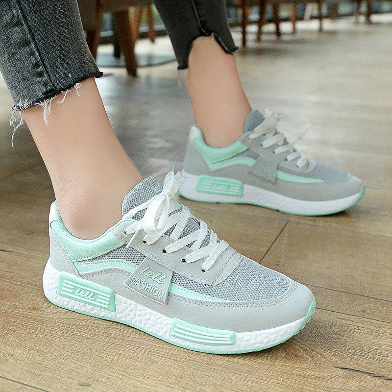 KUYUPP Breathable Summer Shoes Woman Sneakers Female Walking Women Flats Shoes Fashion Comfortable Casual Sutends Shoes KBT1012