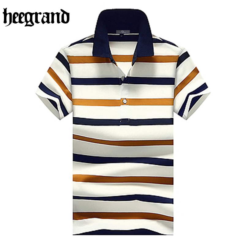 HEE GRAND 2018 Summer Male   Polos   Striped Breathable Casual Summer Plus Size Short Sleeve Men Fashion   Polos   MTP455