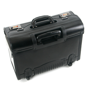 Image 2 - חדש רטרו אמיתי עור טייס מתגלגל מזוודות בקתה חברת תעופה דיילת נסיעות תיק על גלגלים עסקים עגלת מזוודות hangbag