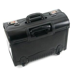 Image 2 - Novo retro de couro genuíno piloto rolando bagagem cabine companhia aérea aeromoça viagem saco sobre rodas negócios trole malas hangbag