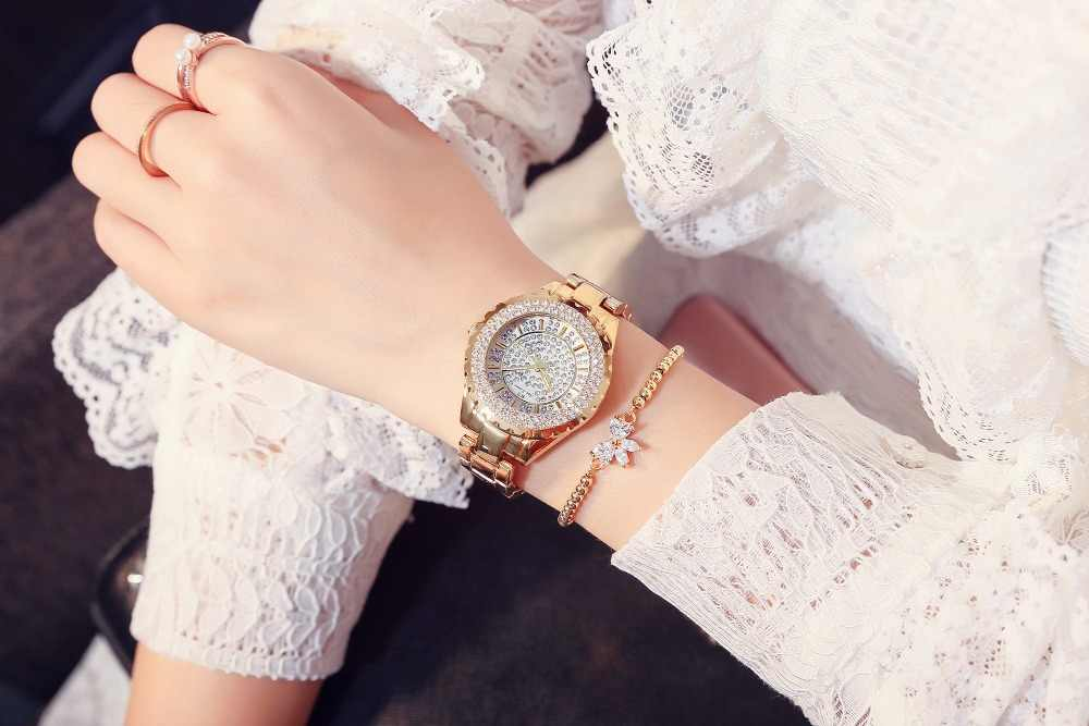 2019 Women Rhinestone Watches Lady Diamond Stone Dress Watch Stainless Steel Band Bracelet Wristwatch Ladies Crystal Watch Clock