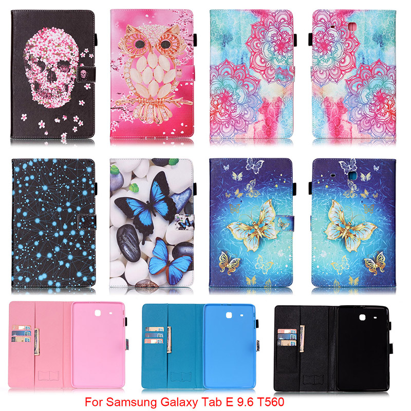 For Samsung Galaxy Tab E 9.6 T560 T561 SM-T560 Case Mandala Butterfly Skull Flower Pattern PU Leather Tablet Back Cover Funda bf luxury tablet case for samsung galaxy tab e 9 6 sm t560 sm t561 t560 t561 pu leather flip cute book stand cover protector