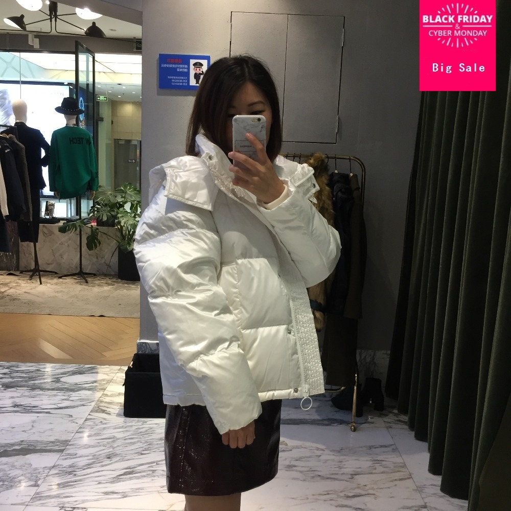 Factory outlet Winter Bread style hooded design real duck   down     coat   female oversize thicker warm   down     coat   wq590 dropship