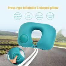 Press Inflatable U-shaped Outdoor Travel Siesta Health Cervical Car Neck Pillow Portable Tools